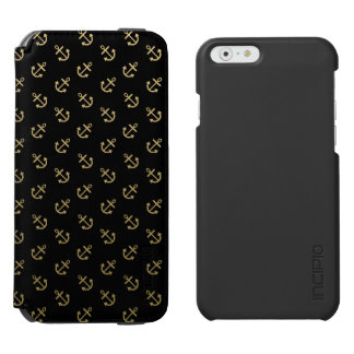 Coque-portefeuille iPhone 6 Incipio Watson™ L'or ancre le motif noir d'arrière - plan