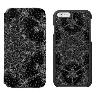Coque-portefeuille iPhone 6 Incipio Watson™ Mandala oriental de zen noir et blanc