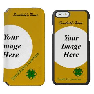 Coque-portefeuille iPhone 6 Incipio Watson™ Modèle de ruban de trèfle de vert vert