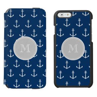 Coque-portefeuille iPhone 6 Incipio Watson™ Motif blanc d'ancres de bleu marine, monogramme