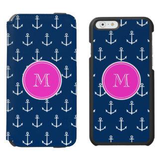 Coque-portefeuille iPhone 6 Incipio Watson™ Motif blanc d'ancres de bleu marine, monogramme de