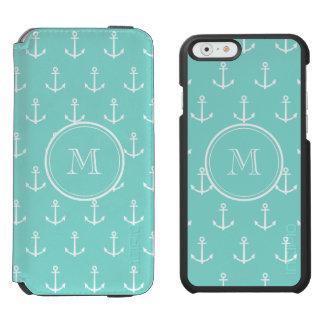 Coque-portefeuille iPhone 6 Incipio Watson™ Motif blanc vert en bon état d'ancres, votre