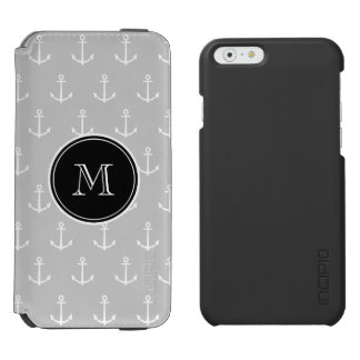 Coque-portefeuille iPhone 6 Incipio Watson™ Motif d'ancres de blanc gris, monogramme noir