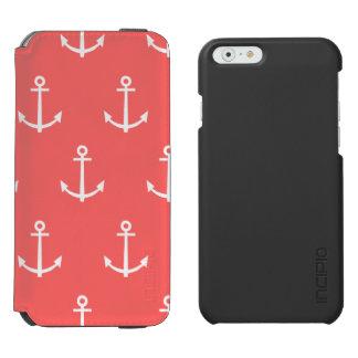 Coque-portefeuille iPhone 6 Incipio Watson™ Motif de corail et blanc 1 d'ancres
