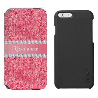 Coque-portefeuille iPhone 6 Incipio Watson™ Paillettes et diamants roses de Faux