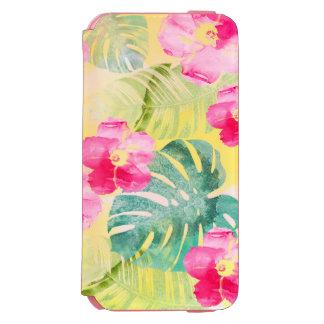 Coque-portefeuille iPhone 6 Incipio Watson™ Palmettes tropicales et fleurs roses de ketmie