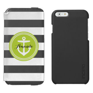 Coque-portefeuille iPhone 6 Incipio Watson™ Rayures et monogramme nautiques d'ancre