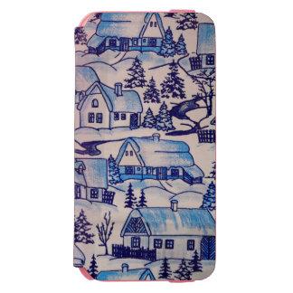 Coque-portefeuille iPhone 6 Incipio Watson™ Village bleu vintage de vacances de Noël