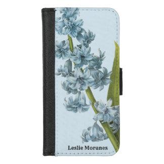 Coque Portefeuille Pour iPhone 8/7 Beau floral vintage botanique bleu