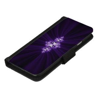Coque Portefeuille Pour iPhone 8/7 Fractale blanche sur l'arrière - plan pourpre