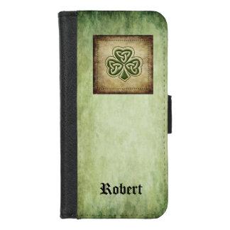 Coque Portefeuille Pour iPhone 8/7 Monogramme chanceux irlandais de shamrock de