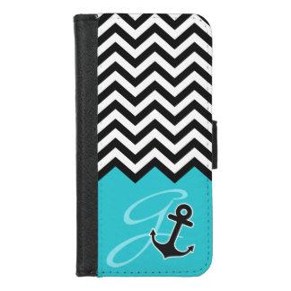 Coque Portefeuille Pour iPhone 8/7 Monogramme élégant bleu de Chevron d'Aqua d'ancre