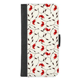 Coque Portefeuille Pour iPhone 8/7 Plus Beau motif de fleur rouge sensible