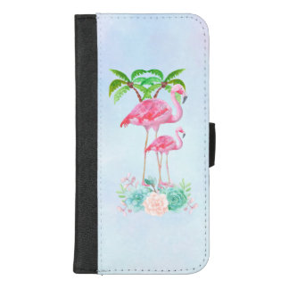 Coque Portefeuille Pour iPhone 8/7 Plus Mamans et bébé roses de flamant avec des palmiers