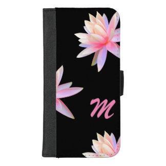 Coque Portefeuille Pour iPhone 8/7 Plus Pétales roses de Lotus blanc de monogramme -