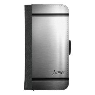 Coque Portefeuille Pour iPhone 8/7 Plus Regard élégant d'acier inoxydable en métal de