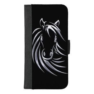 Coque Portefeuille Pour iPhone 8/7 Plus Tête de cheval argentée