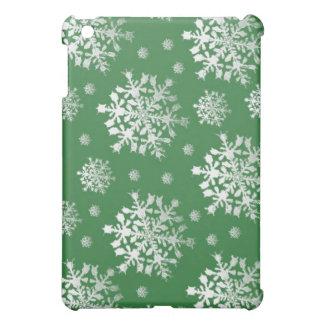 Coque Pour iPad Mini Blanc sur la conception verte de flocon de neige