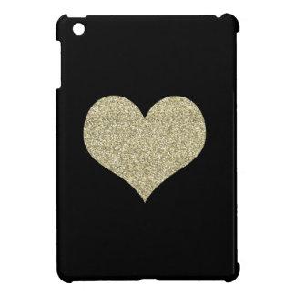 Coque Pour iPad Mini Caisse noire avec le coeur d'or