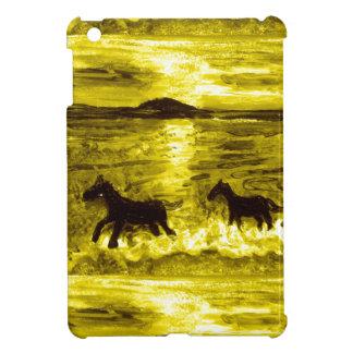 Coque Pour iPad Mini Chevaux sur un bord de la mer d'or