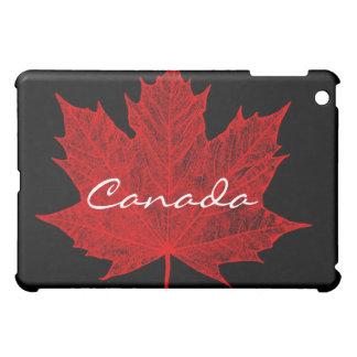 Coque Pour iPad Mini Érable rouge Feuille-sur le noir/Canada