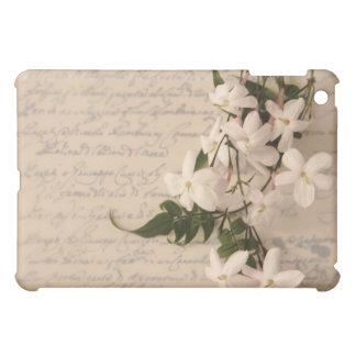 Coque Pour iPad Mini jasmin sur la vieille couverture d'ipad d'écriture