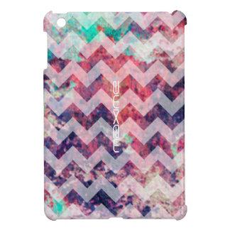 Coque Pour iPad Mini motif grunge de chevron personnalisé de nom