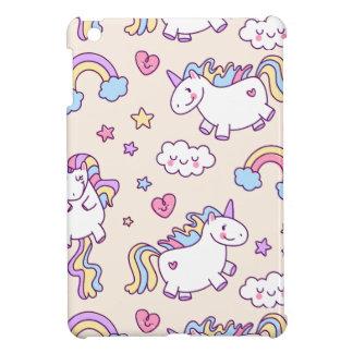 Coque Pour iPad Mini Motif potelé d'arc-en-ciel de licornes de vol de