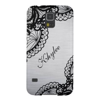 Coque Pour Samsung Galaxy S5 Argent élégant avec le nom noir de coutume de