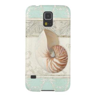 Coque Pour Samsung Galaxy S5 Mode tropicale d'été d'art de Shell de Nautilus de