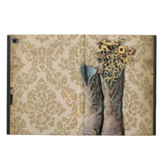 Coque Powis iPad Air 2 Bottes de cowboy de pays occidental de fleur