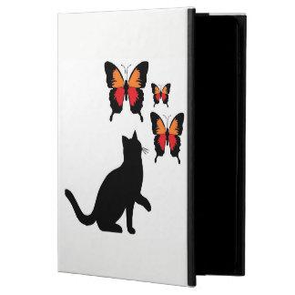 Coque Powis iPad Air 2 Je capitonne chat noir et papillons de caisse