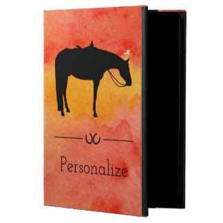 Coque Powis iPad Air 2 Silhouette occidentale noire de cheval sur