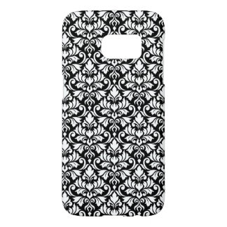 Coque Samsung Galaxy S7 Blanc de motif de damassé de Flourish sur le noir