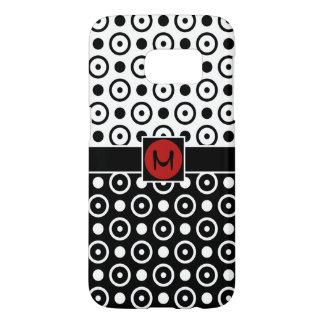Coque Samsung Galaxy S7 Demi de monogramme à moitié blanc noir élégant de