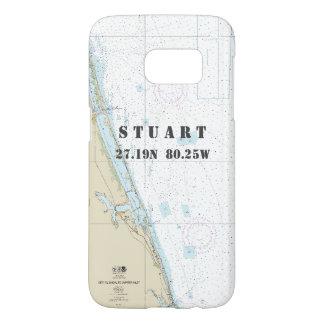 Coque Samsung Galaxy S7 Diagramme nautique de longitude de latitude Stuart