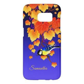 Coque Samsung Galaxy S7 Feuille orange de grand oiseau de mésange de vigne