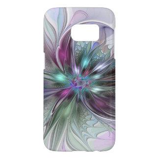 Coque Samsung Galaxy S7 Fleur moderne de fractale d'abrégé sur coloré