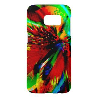 Coque Samsung Galaxy S7 Fleurs avec le coup-de-pied 1 de couleur