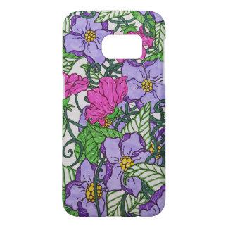 Coque Samsung Galaxy S7 fleurs pourpres