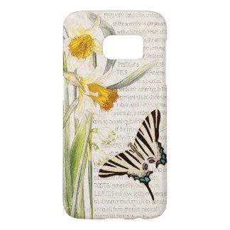 Coque Samsung Galaxy S7 Le narcisse vintage de papillon fleurit la caisse
