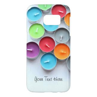 Coque Samsung Galaxy S7 Les bougies colorées ont personnalisé le texte