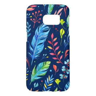 Coque Samsung Galaxy S7 Motif floral Bleu-Orange à la mode de plume de