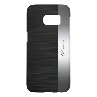 Coque Samsung Galaxy S7 motif noir d'acier inoxydable avec le nom
