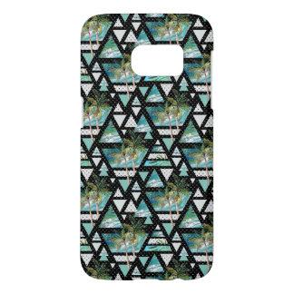 Coque Samsung Galaxy S7 Paumes géométriques abstraites et motif de vagues
