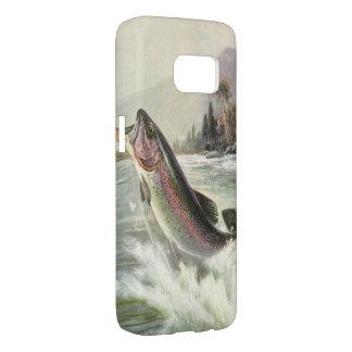Coque Samsung Galaxy S7 Poissons vintages de truite arc-en-ciel, pêche de