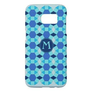 Coque Samsung Galaxy S7 Tuiles bleu-foncé légères de monogramme