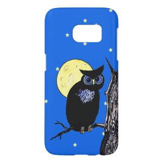 Coque Samsung Galaxy S7 Yeux bleus noirs de hibou se reposant en étoiles