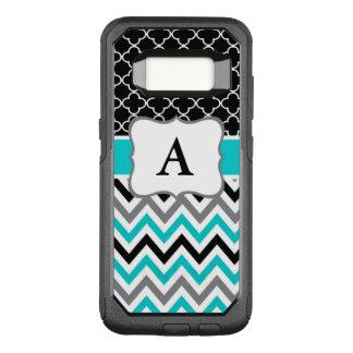 Coque Samsung Galaxy S8 Par OtterBox Commuter Monogramme noir turquoise de Chevron