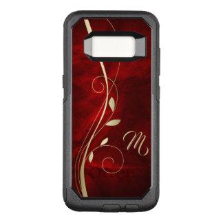 Coque Samsung Galaxy S8 Par OtterBox Commuter Monogramme rouge élégant de feuille de remous d'or